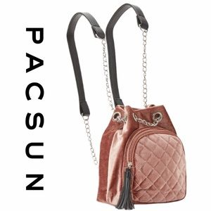 PacSun LA Hearts Quilted Velvet & Leather Backpack